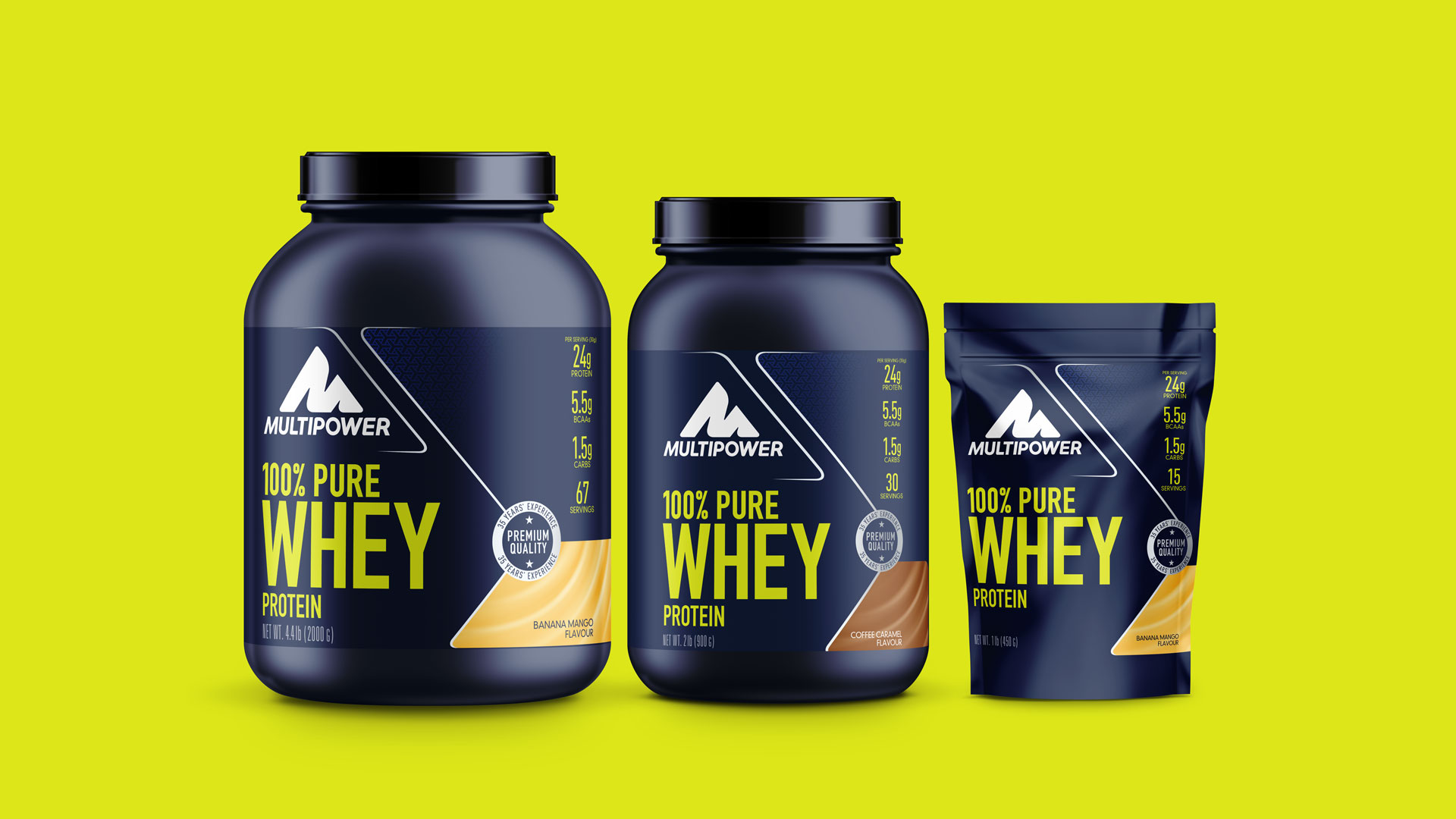 Multipower Pure Whey Protein Packaging Design